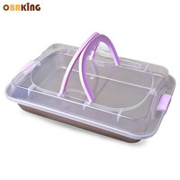 OBRKING Portable Loaf Bread Carrier Keeper Non stick Oven Bread Baking Tray Rectangle Cookie Cupcake Container Baking Supplies