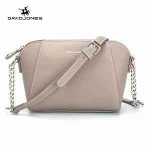 Image 1 - DAVID JONES kadın postacı çantası pu deri kadın crossbody çanta küçük bayan zincir omuzdan askili çanta kız marka çanta damla nakliye