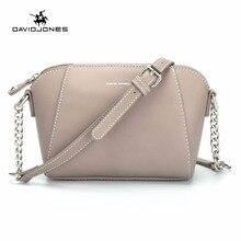 DAVID JONES kobiety messenger torby pu skóra kobiet crossbody torby mała dama łańcuszkowa torba na ramię dziewczyna marka torebka drop shipping