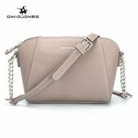 DAVID JONES women messenger bags pu leather female crossbody bags small lady chain shoulder bag girl brand handbag drop shipping