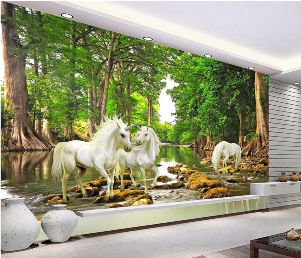3d room wallpaper custom mural non-woven picture Forest streams unicorn home decoration painting photo wallpaper for walls 3 d 3d room custom wallpaper photo non woven mural picture 3d fantasy forest birds decoration painting wallpaper for walls 3 d