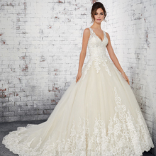 HIRE LNYER V-neck Backless Ball Gown Wedding Dress With