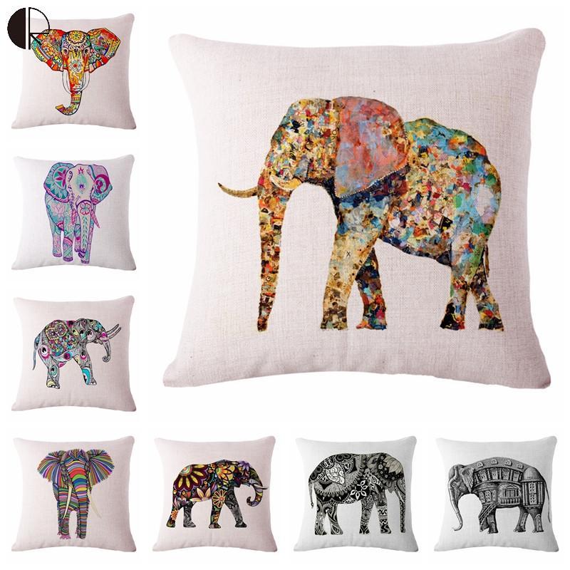 ᗛColorido costura elefante sofá silla decorativa Cojines caso sin