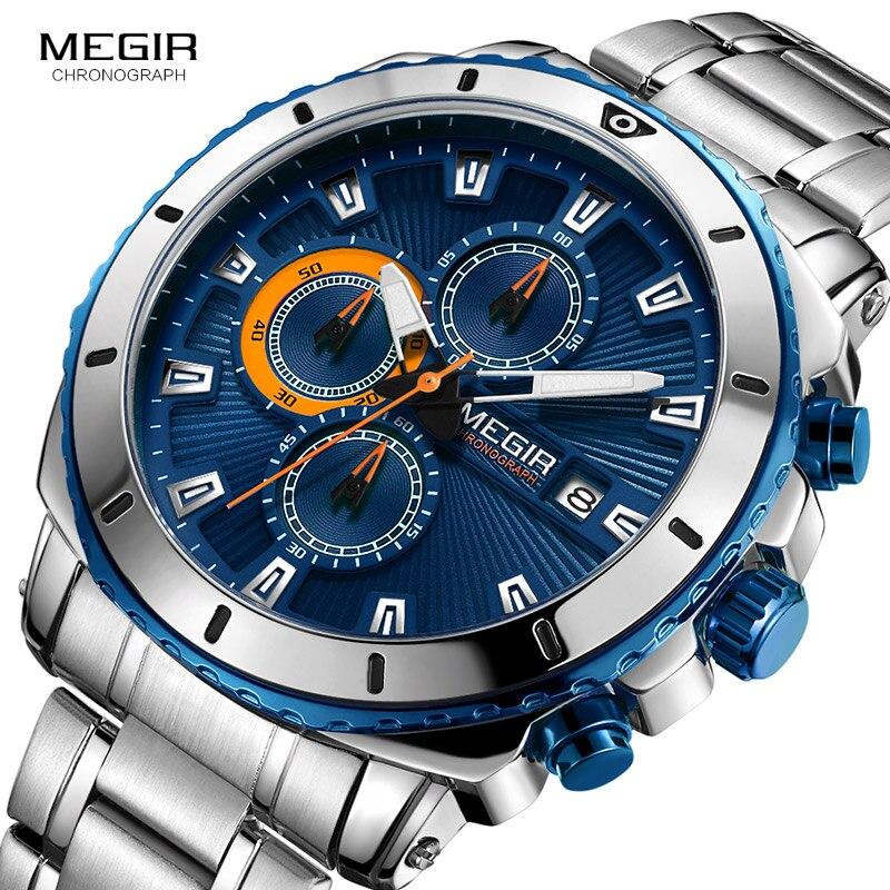 MEGIR herren Blau Zifferblatt Chronograph Quarz Uhren Mode Edelstahl Analog Armbanduhren für Mann Leuchtende Hände 2075G-2