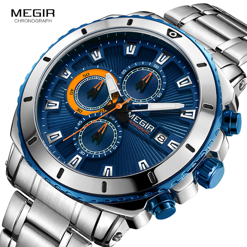 MEGIR Men's Blue Dial Chronograph Quartz Watches Fashion Stainless Steel Analogue Wristwatches For Man Luminous Hands 2075G-2