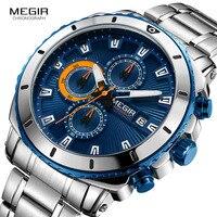 MEGIR Men's Blue Dial Chronograph Quartz Watches Fashion Stainless Steel Analogue Wristwatches for Man Luminous Hands 2075G 2