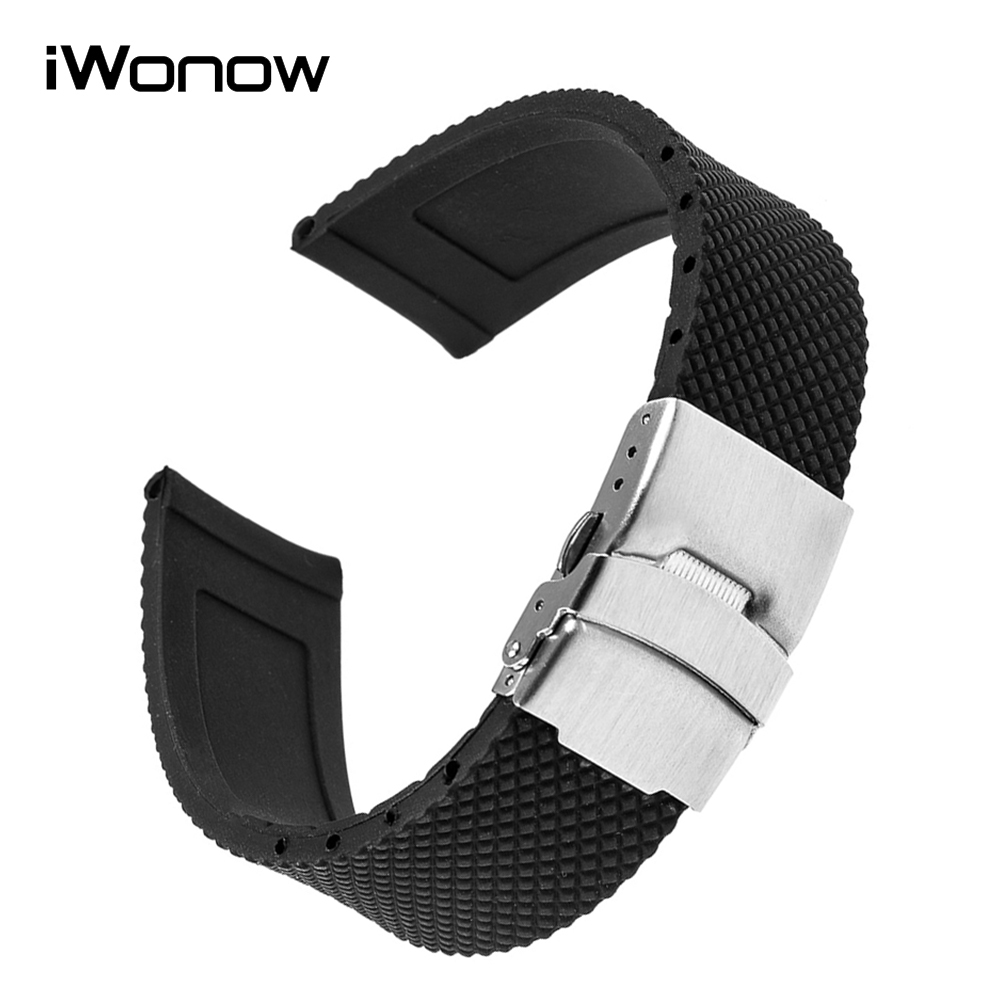 Silicone Rubber Watchband Stainless Steel Safety Clasp Watch Band Universal Wrist Strap Bracelet Black 17 18