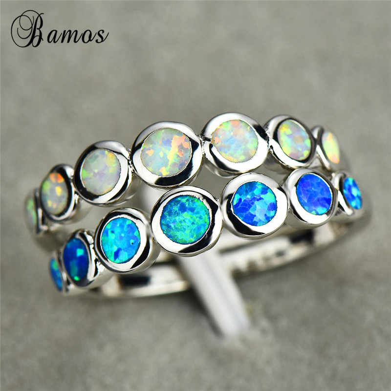 Boho Nữ Nhỏ Vòng Finger Nhẫn 925 Bạc Màu Xanh Trắng Lửa Opal Đá Vành Đai Cổ Điển Cưới Nhẫn Đính Hôn Cho Phụ Nữ
