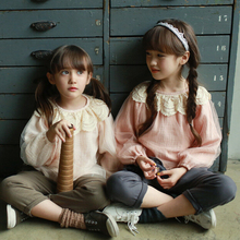 2-7 years old Anti-UV Korean children's clothing spring models of child girls round neck lace shirt baby girls blouse