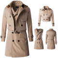 Mens Overcoat Limited Rushed Standard Casual Solid Long Coat Men 2016 Two Piece Suit Coat Long Double Breasted