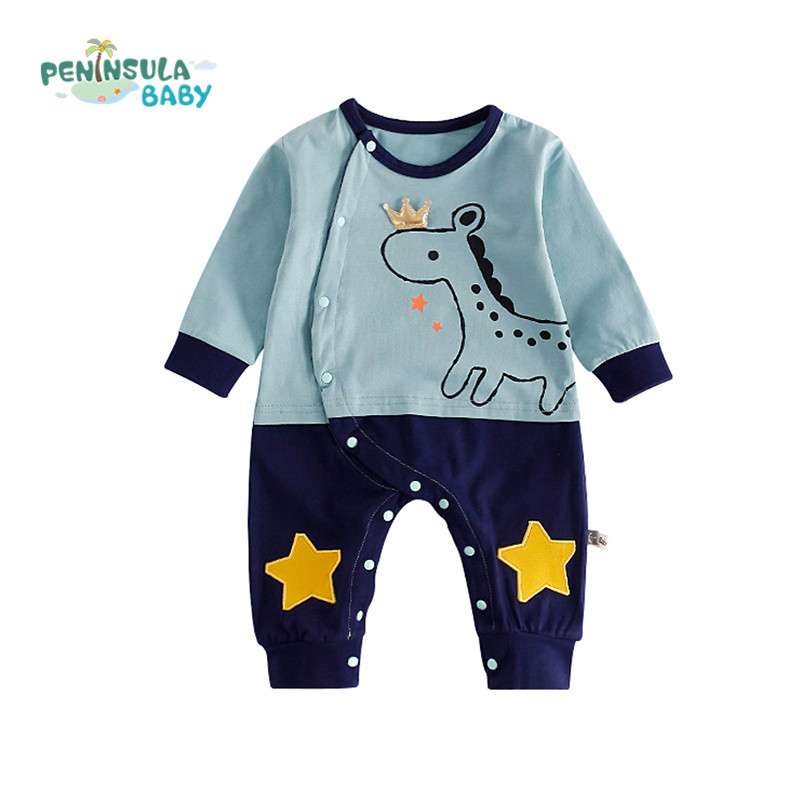 Autumn Lovely Cotton Baby Clothing Newborn Baby Boy Girl Rompers Cartoon Animals Long Sleeve Tracksuit Jumpsuits Infant Product autumn winter baby rompers children clothing set newborn clothes bebes microfleece long sleeve girl clothing infant jumpsuits
