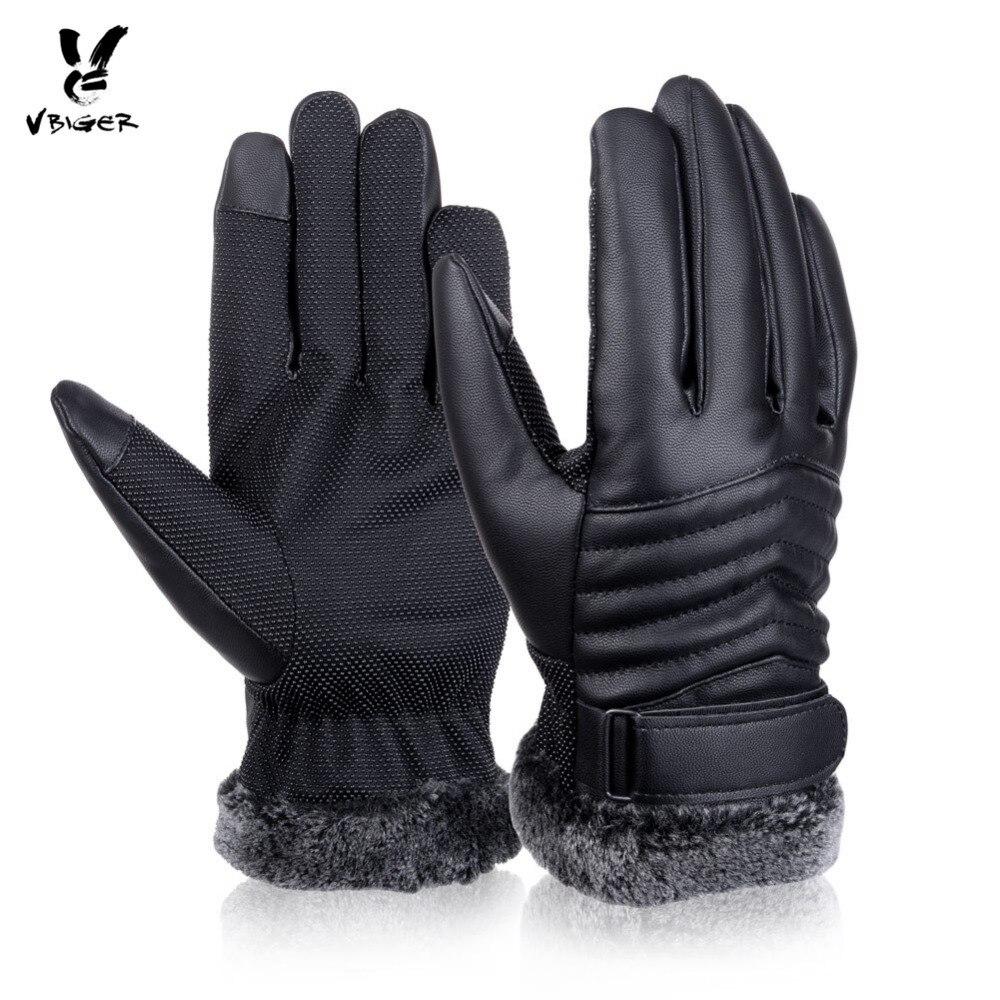 Vbiger de los hombres de invierno cálido guantes Retro engrosada de cuero de la PU de pantalla táctil guantes de brazalete al aire libre antideslizante guantes para hombres