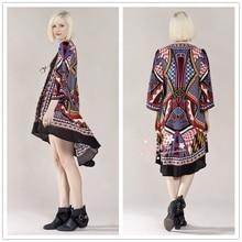 bohemia fashion BOHO summer autumn skirt out wear shirt Women's Geo Print Maxi Cardigan free shipping