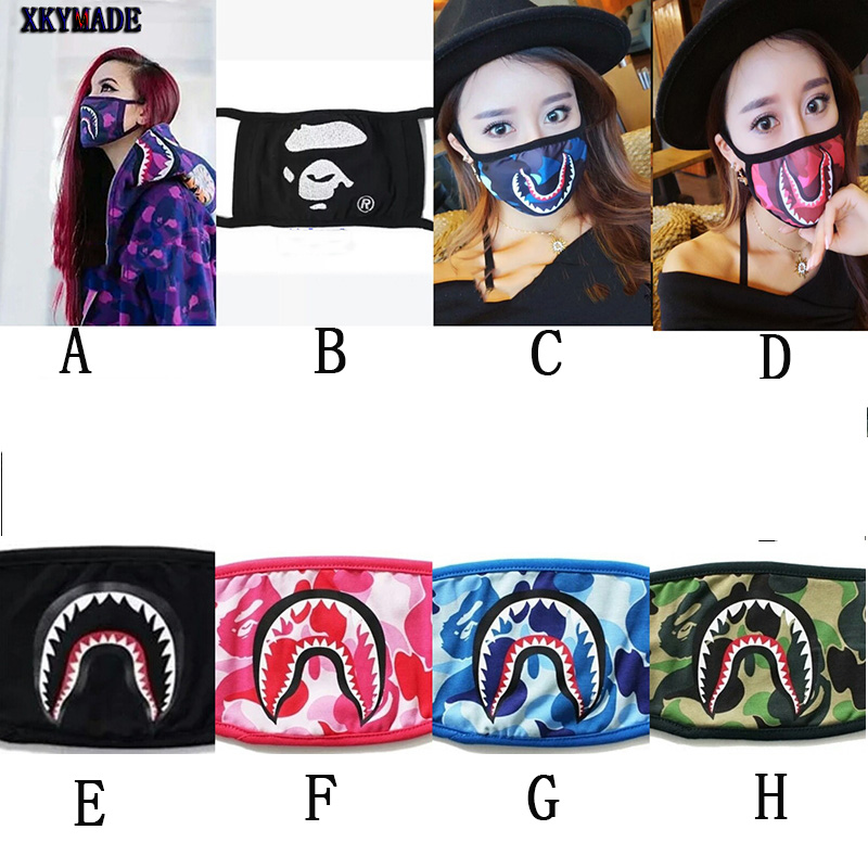 Camouflage Shark Black Face Mask Mouth muffle Cover-in Party Masks ... ecbf025e4cdf