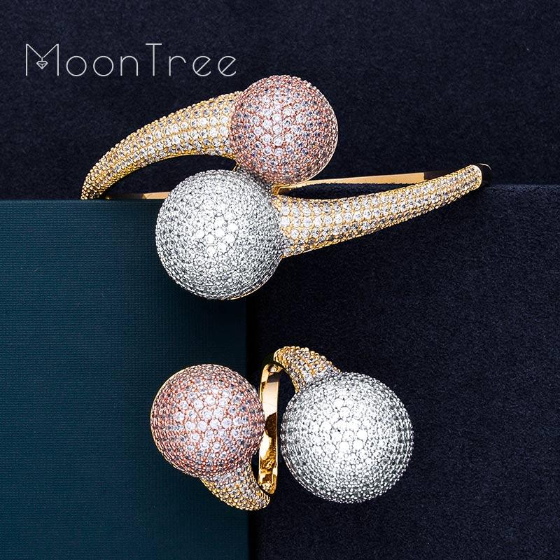 MoonTree Luxury Big Ball Full Micro Cubic Zirconia 3 Tone Party Wedding Saudi Arabic Dubai Baguette