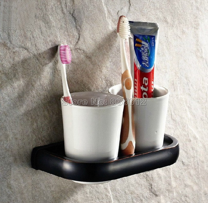 Black Oil Rubbed Bronze Bathroom Accessory Wall Mounted Toothbrush Holder with Two Ceramic Cups Wba197 black oil rubbed bronze wall mounted toothbrush holder with two ceramic cups wba472