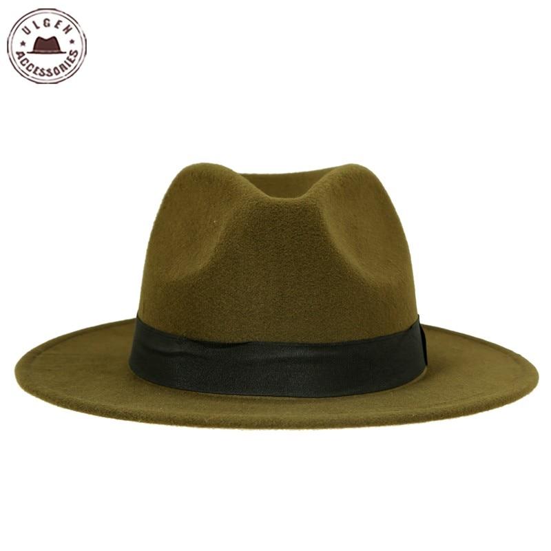 948e483b € 7.27  Vintage unisex lana Jazz sombreros de ala grande fieltro cloche  vaquero Panamá fedora sombrero para mujeres negro rojo trilby derby fajas  ...