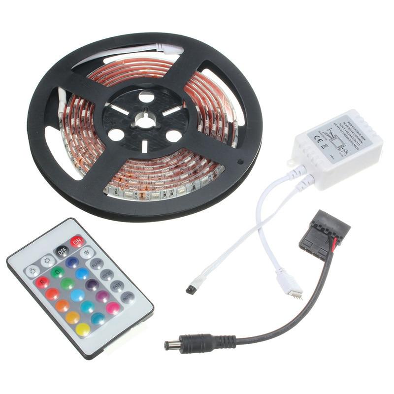 Versprechende 0,5 Mt/1 Mt/1,5 Mt/2 Mt Super Helle RGB 5050 SMD 16 Farben LED streifen Computer PC Chassis Lichter Mit 24 Keys Fernbedienung 12 V
