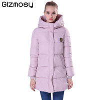 Gizmosy 2016 New Long Winter Jacket Women Slim Female Coat Thicken Parka Down Cotton Clothing Red