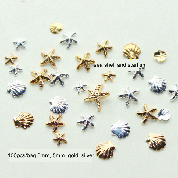 100PCS 3MM&5M 3D Metal Sea Shell Starfish Mixed Gold Silver Nail Art Tools Rhinestone Stud Spike Nail Tips Stickers Accessories(China)