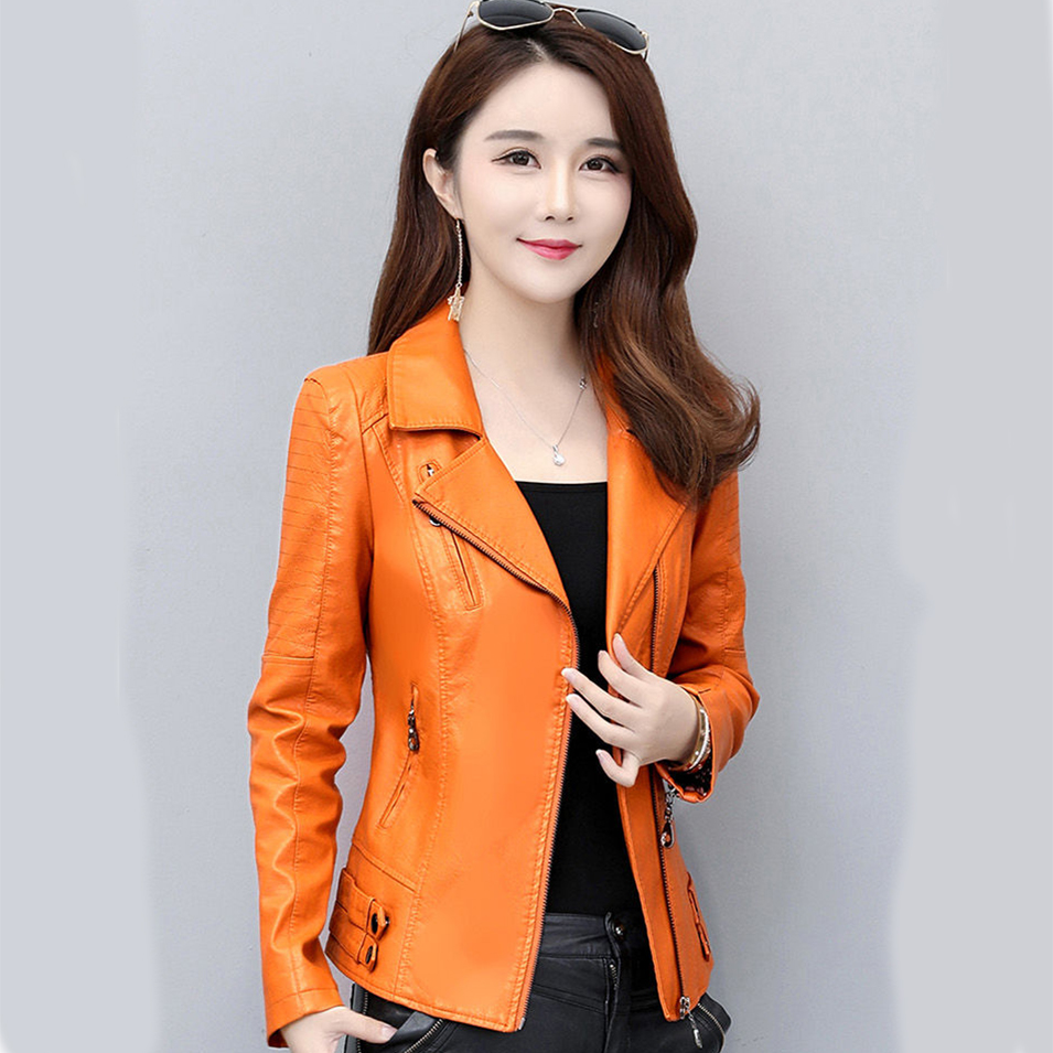 Large size M-4XL motorcycle   leather   jacket 2019 new spring and autumn   leather   coat women clothing women's short section Slim