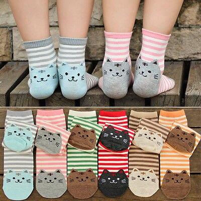 Cute Cat Socks Women Big Girls Kids Cartoon Funny Cat Print Cotton Warm Short Ankle Socks