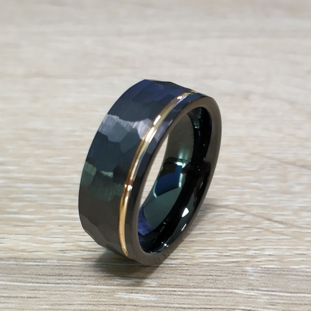 8 mm Comfort Fit Black Ceramic Faceted Ring Men/'s Anniversary Wedding Band