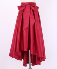 wine red satin skirt