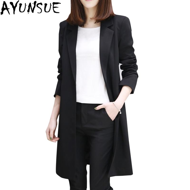 nuevo lanzamiento genuino mejor calificado ventas especiales € 37.69 51% de DESCUENTO|AYUNSUE Blanco/Negro mujeres Blazers y chaquetas  largo estilo coreano Blazer femenino S 2XL moda Casual Blazer femenino ...