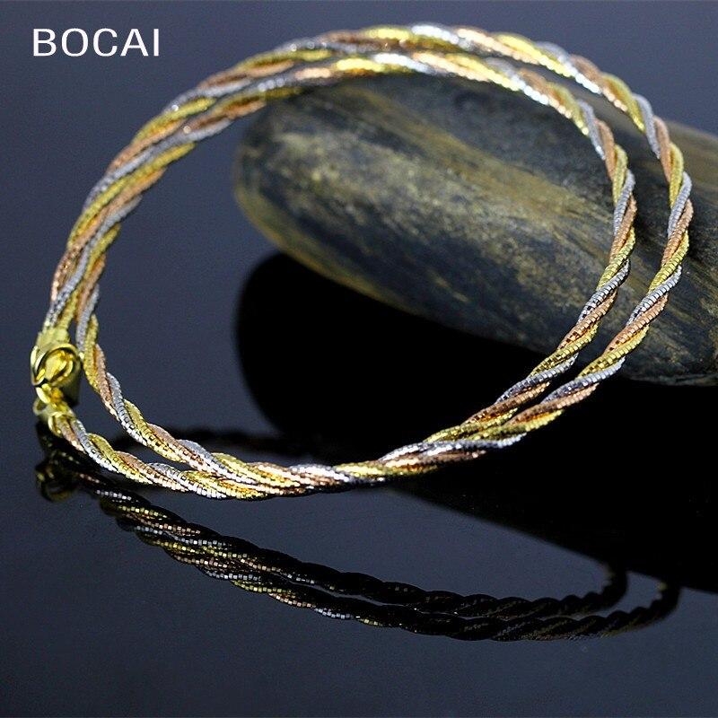 Le caractère de l'argent S925 argent bijoux artisanat italie mode dame torsion collier or