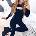 1PC Women Sexy Autumn Winter Open Chest Long Sleeve Sweater Crochet Knitted Shirt Coat Pullovers Size S/M/L/XL