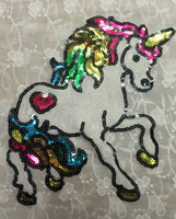 2pcs Set 27 5 24 5cm Colorful Unicorn Sequins Girl Iron On Patches For Clothes Garment