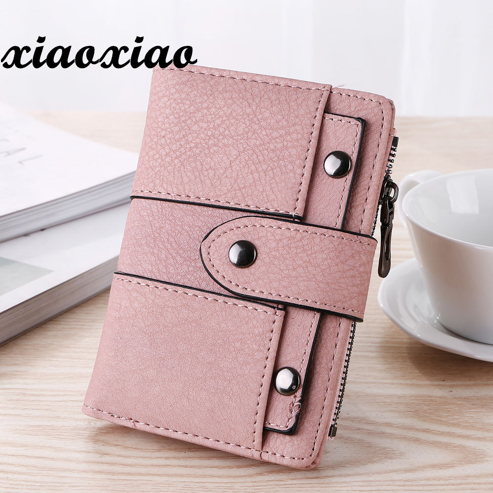 Women wallet Simple Retro Rivets Short Wallet Coin Purse Card Holders Handbag For Girls Purse Ladies Bags bolsa feminina#75