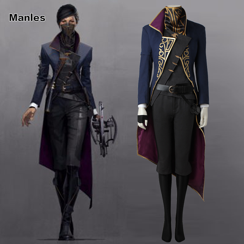 Dishonored 2 Costume Emily Kaldwin Cosplay Halloween Costume Game Fancy Clothes Dark Blue Outfit Adult Women
