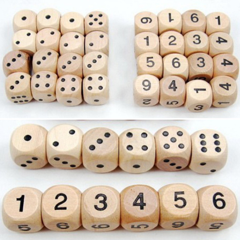 10pcs  Wood Dice D6 Sided Dice 16mm Digital Number Or Point Cubes Round Coener For Kid Toys Board Games