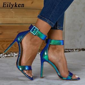 Image 2 - Eilyken Zomer Zilver Blauw Serpentine Peep Toe Hoge Hak Vrouwen Sandalen Sexy Gesp Ankle Wrap Dames Sandalen Club schoenen