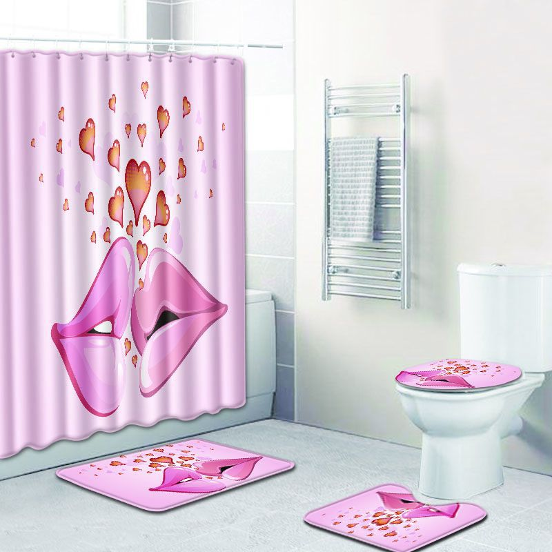 Teenage Heart Love Toilet Mat Accessories 4pcs Bath And Shower Curtain Set Pink Bathroom Carpet 3D Blanket India Doormat Rug In Mats From Home