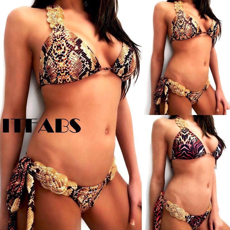 8ed70a5d5b Hirigin 2018 Metal Chain Bandage Bikini Set Leopard Printed Push Up Padded  Bra Swimwear Women Summer