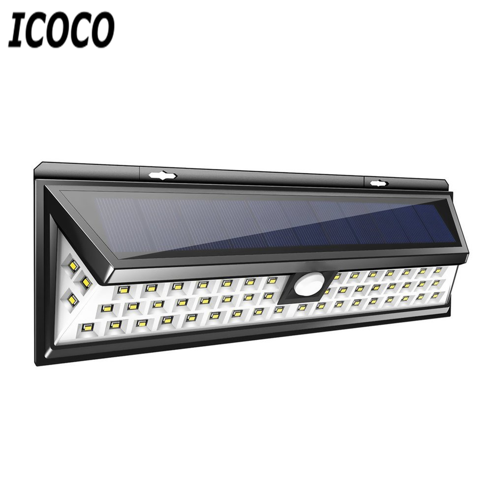 ICOCO 54 <font><b>LEDs</b></font> Solar Sensor Waterproof PIR Human Body Induction Motion Sensor Dimmable Wall <font><b>Light</b></font> for <font><b>Outdoor</b></font> Garden Landscape