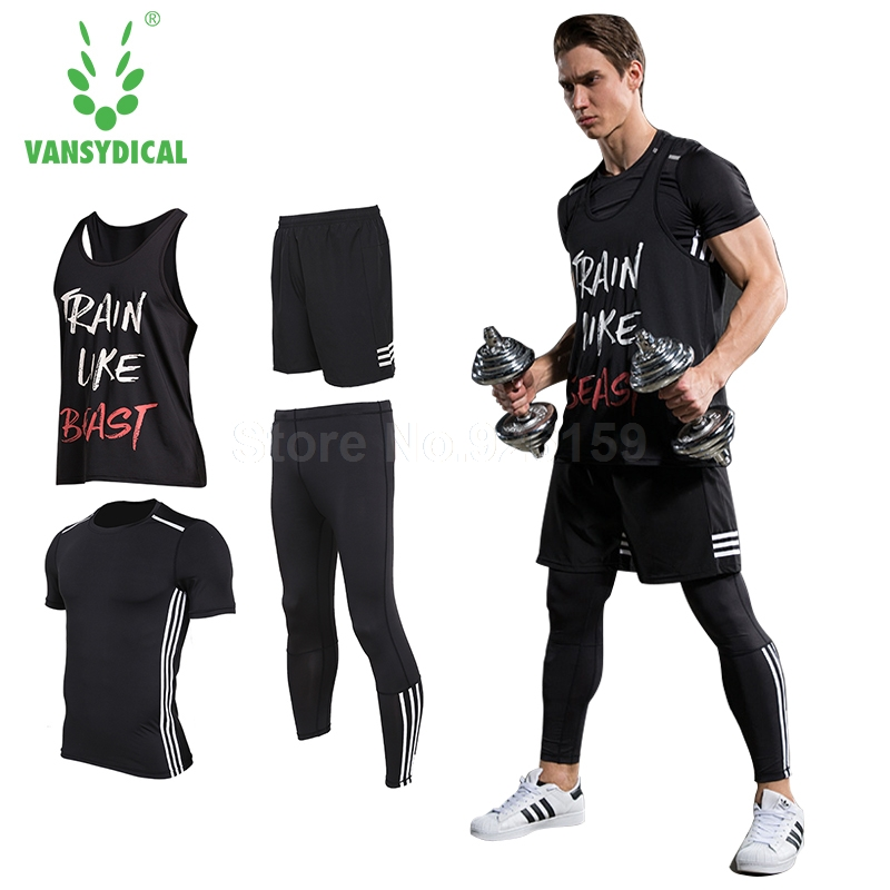 Vansydical Mens Running Sets Sports Suits 4pcs For Men Short Compression Tights Gym Fitness T Shirt Pants Running Pants Sports 2016 boys running pants soccer trainning basketball sports fitness kids thermal bodybuilding gym compression tights shirt suits
