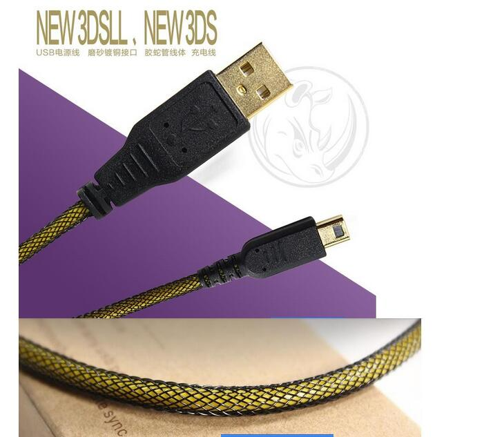 Game accessories Gold Plating Port USB Cable For Nintendo New 2DSLL/XL & 3DS 3DS XL 3DS LL USB Charging charger Cable