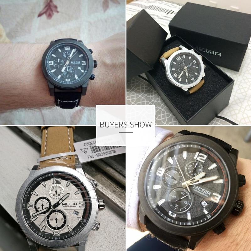 Image 5 - MEGIR Fashion Sport Watch Men Luxury Brand Men Quartz Watches Chronogragph Clock Leather Band Army Military Wrist Watch 2026watch brandwatch fwatch fashion -