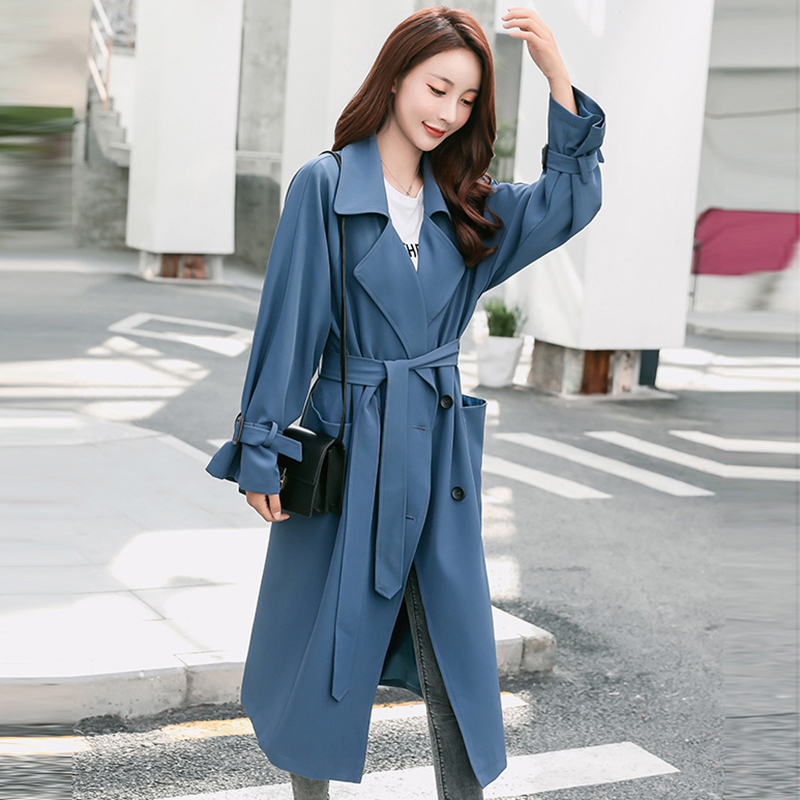 Women   Trench   Coat Fashion Slim Double-Breasted   Trench   Coats Female Casual Windbreaker Outwear Elegant Long   Trench   FP1418