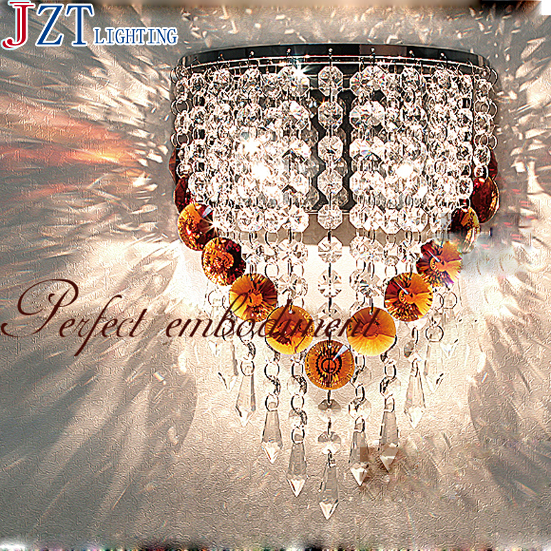 T Luxury Crystal Modern Wall Lamps American Style Aisle Porch Indoor Light With E14 LED Bulbs For Corridor 6W Decoration light rustic crystal wall lamp fixture with fabric shade for bathroom aisle bedside light e14 1 2 light led indoor wall lamps crystal