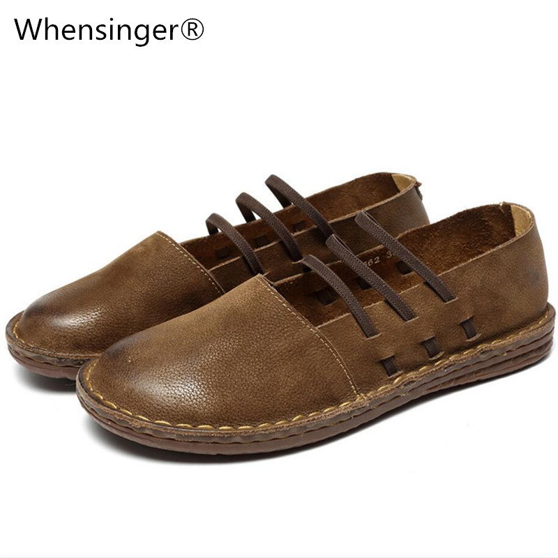 Whensinger - 2018 New Spring Women Shoes Genuine Leather Slip-On Flats Round Toe Design 8562 Casual sneakers womens flat shoes whensinger 2017 woman shoes female genuine leather flats slip on summer fashion design f927