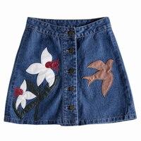 Denim Skirt 2017 Floral Embroidered Women Sexy Slim Mini Denim Skirt Plus Size Jeans Women Summer