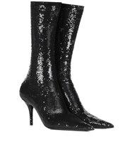 Пикантные женские носки Ботинки на высоком каблуке тонкие слипоны ботильоны Bling черные модельные туфли
