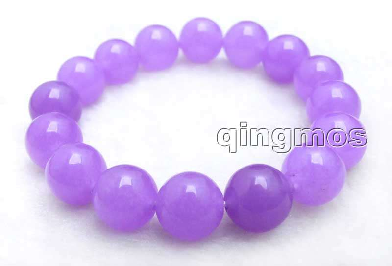 New Natural 12mm Lustrous Red Jade Round Gemstone Beads Stretchy Bangle Bracelet