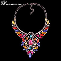 Dvacaman New Arrival Fashion Luxury Jewelry Bohemian Colorful Statement Necklace For Women Hot Sale Maxi Collar