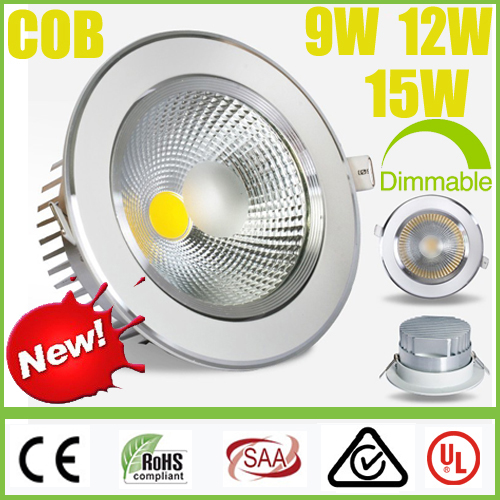 Dimmable CREE 9W 12W 15W COB LED Downlights Power Driver Warm Cool Natural White Fixture Recessed